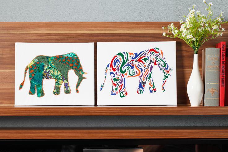 Leuk olifantenproject gepubliceerd in Stitch At Home 44 (Winter 2014). Het project bestaat uit 3 olifanten allemaal op een andere manier gedigitaliseerd.