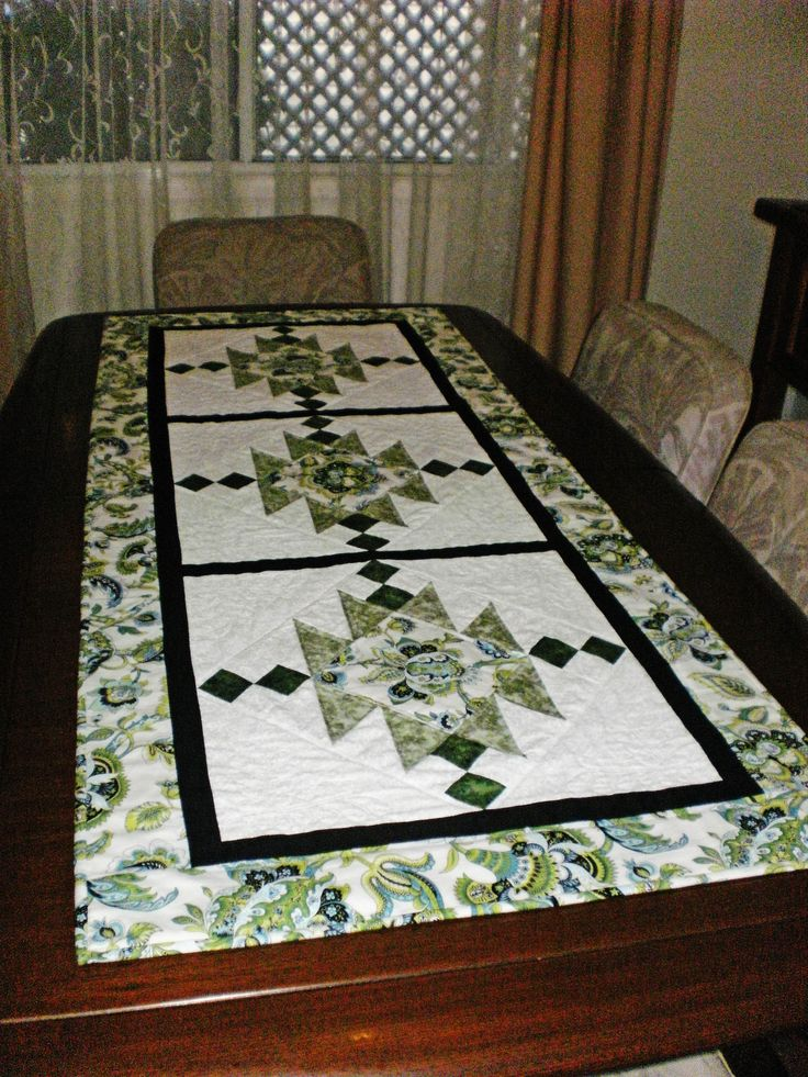 Patchwork Quilted Table Runner ..Green And White Dramatic. I Made Another  In Autumn