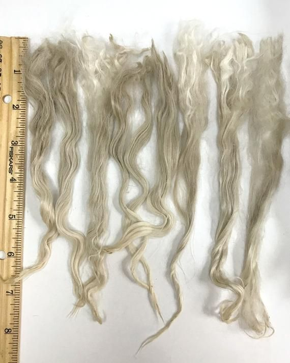 RAW 8-9 inch Suri Alpaca locks, 8. White, reroot Blythe hair bjd Waldorf doll wig long weft Minifee sd msd