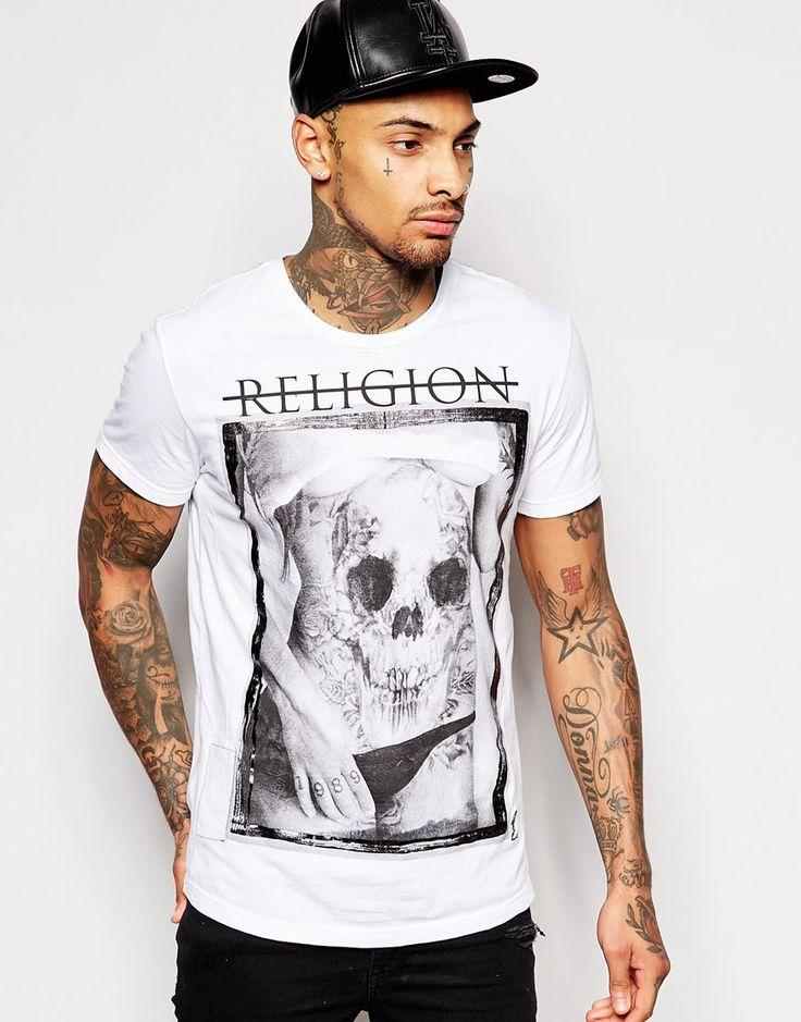 Imagen 1 de Camiseta con estampado de cuerpo tatuado con calaveras de flores de Religion