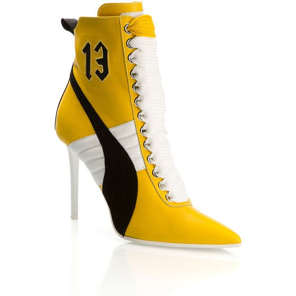 Fenty X Puma Yellow High Heel Sneakers ($665) ❤ liked on Polyvore featuring shoes, sneakers, high heel trainers, pointy toe sneakers, high heel shoes, suede sneakers and suede leather shoes
