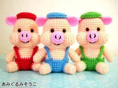 The Three Little Pigs Free Amigurumi Japanese Pattern http://amigurumisouko.web.fc2.com/kobuta-amizu.html