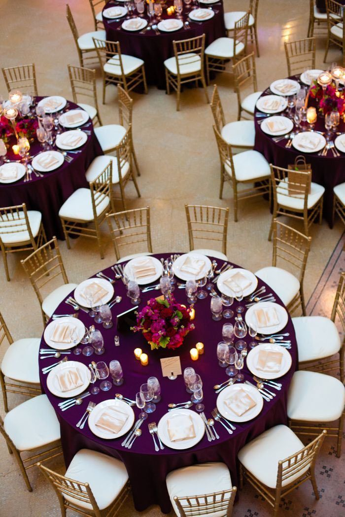 Purple and Magenta Wedding Reception // classic, romantic, centerpieces, gold, florals  sweetchic events, chicago wedding planner, chicago wedding, rookery wedding