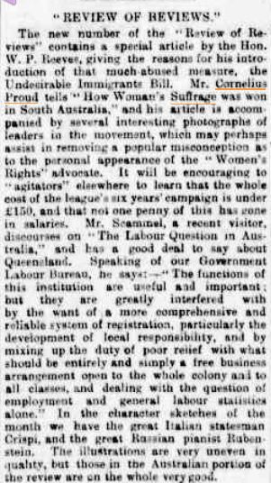 """An article that mentions a feature in a magazine called Review of Reviews, in which there are photographs of suffragists prompting the author to state that they """"may perhaps assist in removing a popular misconception as to the personal appearance of the """"Women's Rights"""" advocate"""".  Brisbane Courier, 9 Feb 1895"""