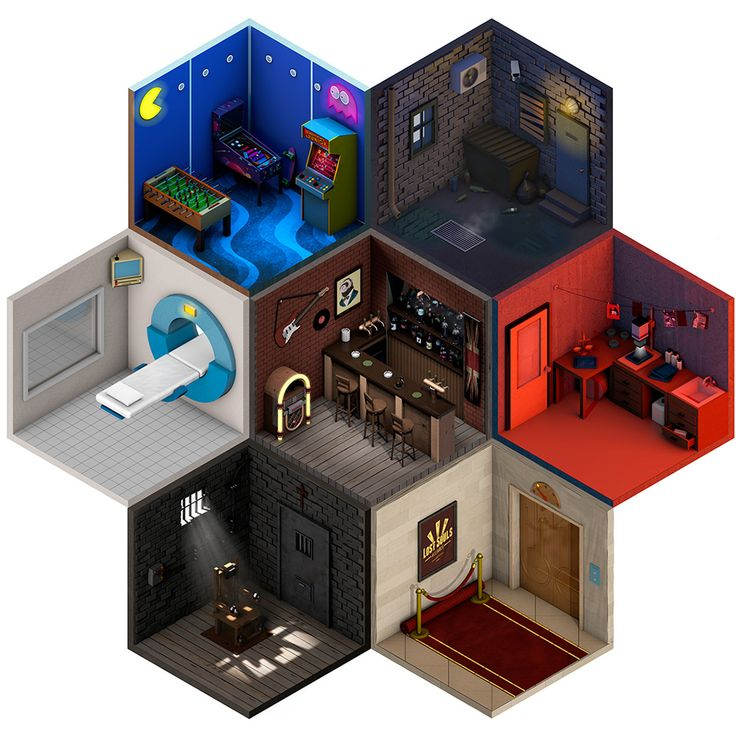 These low-poly, isometric artworks feature miniature rooms inside hexagons…