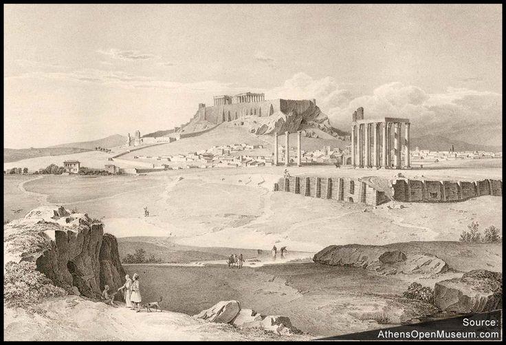 Το Ολυμπιείον, του Μακρυγιάννη και η Ακρόπολη από τον Αρδηττό στα 1835