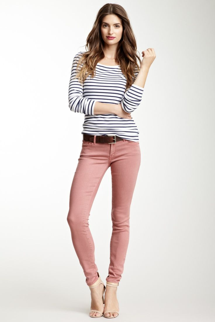 Stripes And Old Rose Feminine Style Is A Good Thing Pinterest Jeans Jean Outfits
