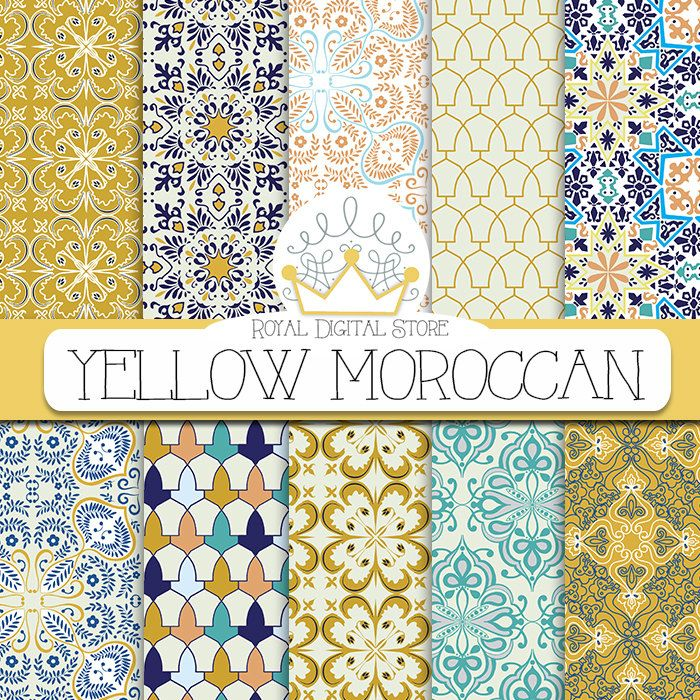 """Moroccan digital paper: """" YELLOW MOROCCAN"""" with yellow moroccan pattern, yellow damask, yellow mosaic for scrapbooking, cards, invitations #moroccan #planner #yellow #blue #digitalpaper #damask #scrapbookpaper"""