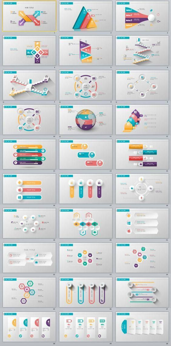30 Three Dimensional Charts Powerpoint Template Graphs
