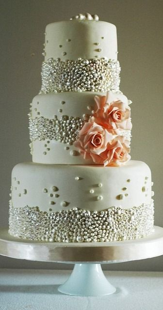 Wedding Cake with Flowers and Edible Pearls