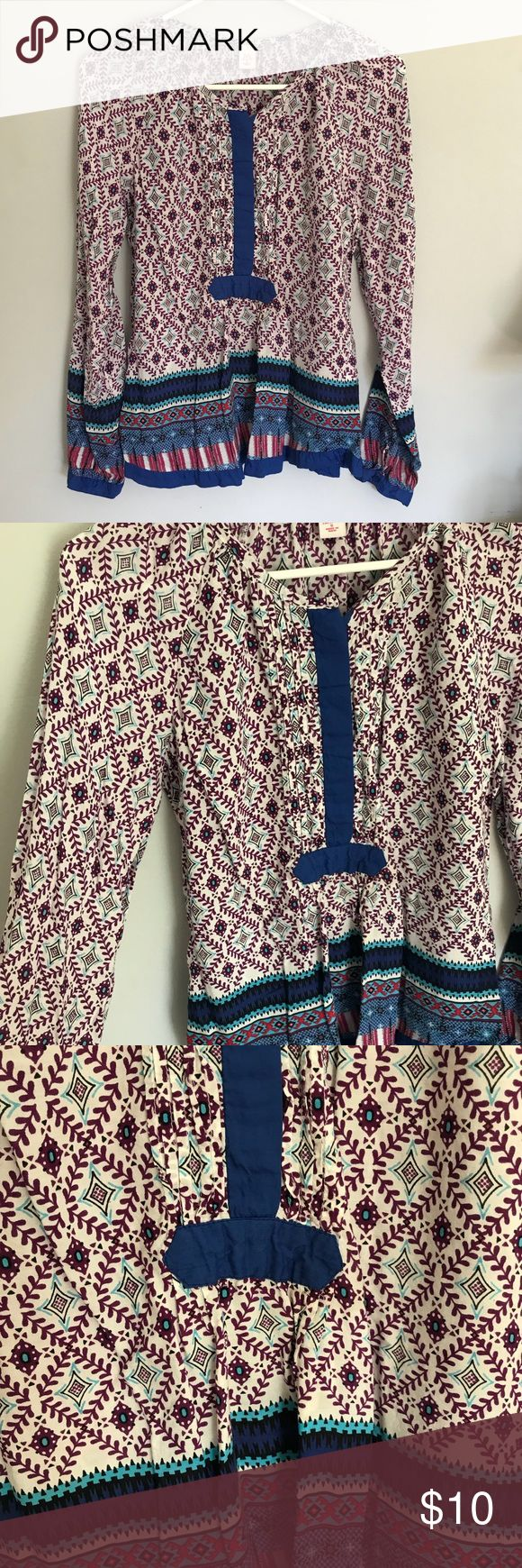 Purple and Blue Bohemian Blouse Purple and blue patterned bohemian blouse. Moroccan and Indian inspired! Free People Tops Blouses