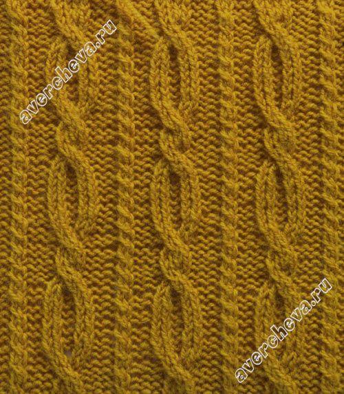 узор 340 вертикальные полоски из кос|  каталог вязаных спицами узоров
