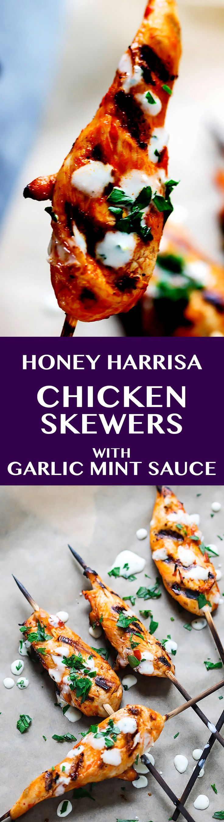Honey Harrisa Chicken Skewers with Garlic Mint Sauce – amazing combination of Mediterranean flavors in these super tasty skewers with a dollops of refreshing garlic mint sauce. My guests couldn't get enough.