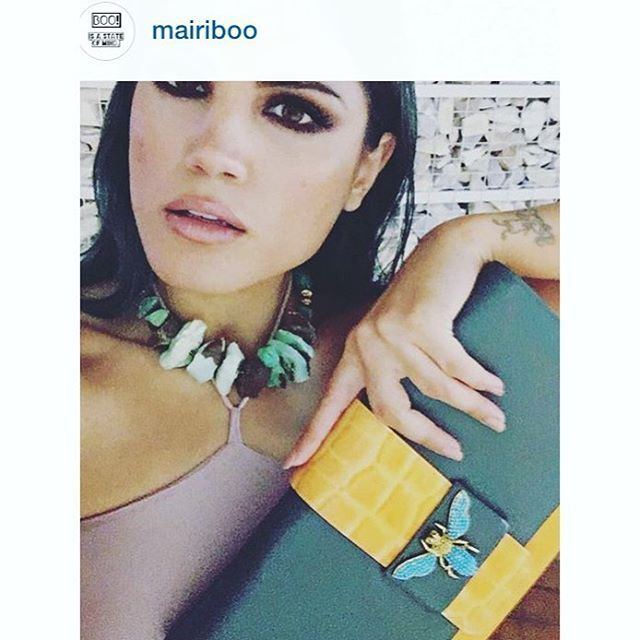Stunning @mairiboo is #wearingkaterinapsoma  Necklace made of chrysoprase and leather clutch with our signature dragonfly embellished with turquoise. How gorgeous!!! #thankyou #necklace #clutch #leather #muse #dragonfly #chrysoprase #jewelry #mairiboo