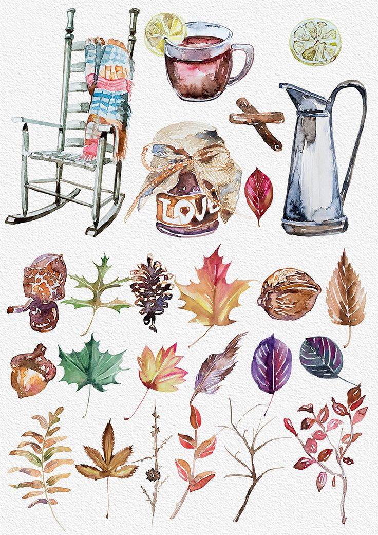 Related Articles Watercolor Fall Mood Clipart, Hand Painted Clipart, DIY Wedding, Season Clip Art, Design Elements, Rocking Chair, Acorn, Branches, Leaves, Cup of Tea on Etsy