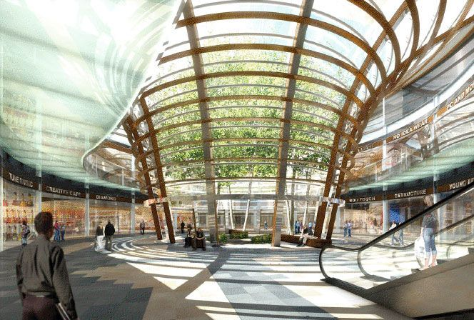 Plaza garden santa fe en el distrito federal, en verdad una belleza de arquitectura sustentable financiada por Grupo Copri... es una verdader Oda