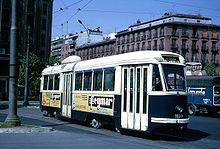 Tranvía FIAT de la serie 1001, último modelo que funcionó en Madrid hasta 1972.