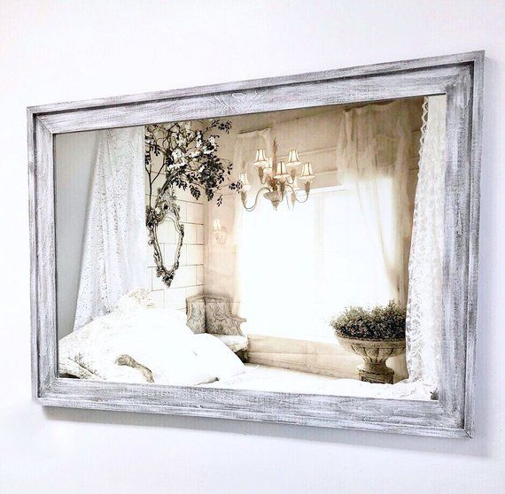Rustic White Barnwood Mirror 41 X29 Distressed White Framed Bathroom Vanity Mirror Bedroom Bar French Country Bathroom French Country Bedrooms Country Bedroom