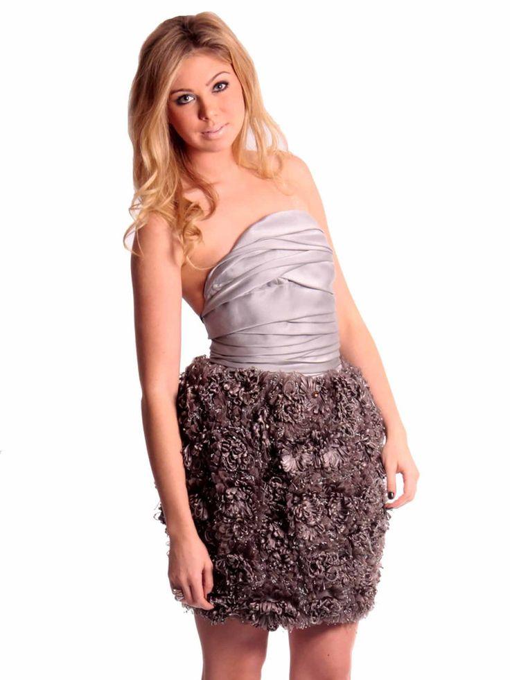 Boss Runway | Strapless Flower Dress in silver www.sabrinascloset.com