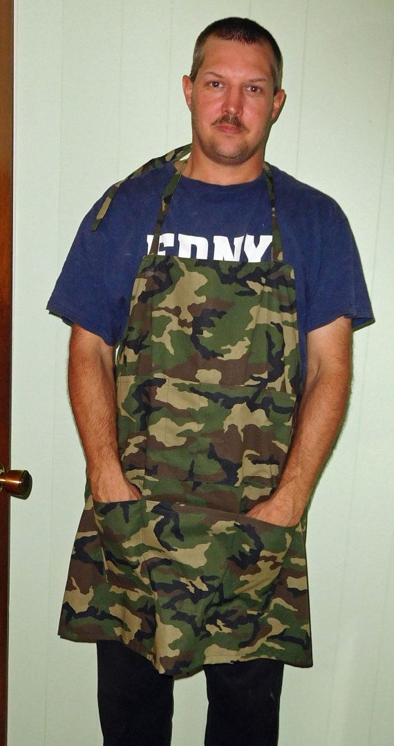 Check out this item in my Etsy shop https://www.etsy.com/listing/248023307/large-camo-mens-grilling-apron-mens