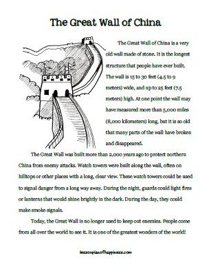 Reading printable about the Great Wall of China. Use for IEW writing as well.