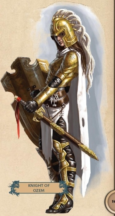 Here's a cool knight from Paizo's Pathfinder game, but I don't know who the artist is.