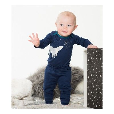 Lamaze Baby Boys' Organic Bear & Stars 3pc Bodysuit Pants Set - Blue 18M