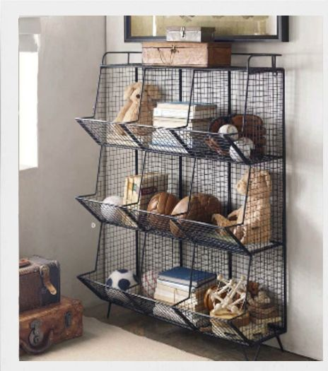 Industrial storage ideas for children's room. What do you think about all these metal baskets and cabinet? I really like them and definitely not only for boys!
