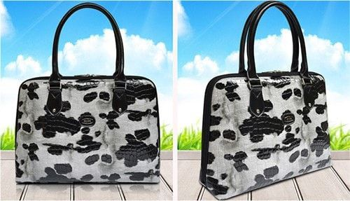 "Superior Quality Luxury Patent Leather Designer Zipper Animal Print Laptop Briefcase 11 12 13 14"" w/Handles 2 Colors 2 Sizes"