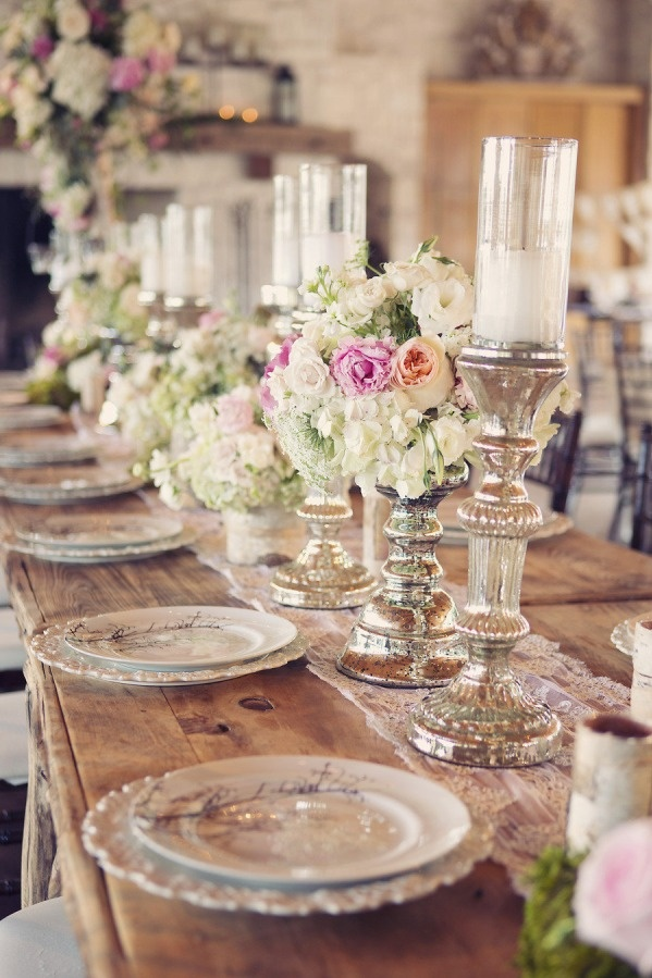 Wedding table place settings, mercury glass candlesticks, elegant barn/rustic wedding... @Candice Blythe