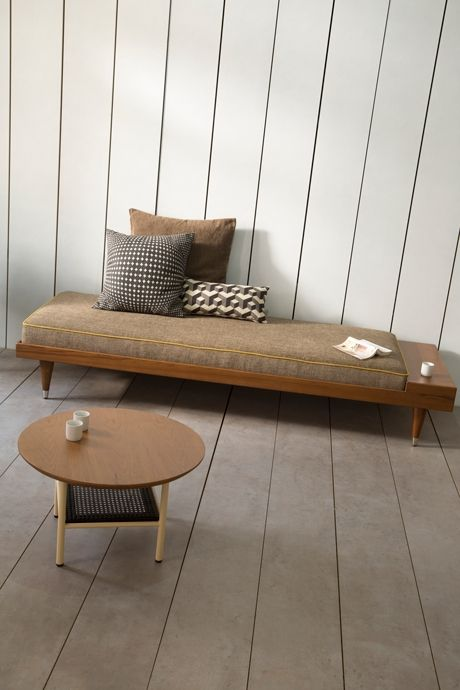 this grey design daybed is made in a minimalist scandinavian design and is inspired from the vintage 50's design