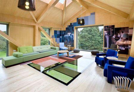 Living space 2 of 'Balancing Barn' by MVRDV and Mole Architects.. windows..