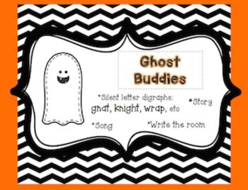 """***FREE*** Silent letter digraphs are called """"Ghost Buddies"""" in my classroom. This download includes:- a cute little story I tell my students about ghost buddies- write the room ghost cards with pictures-a recording sheet-anchor chart headings-a song I made up to go with the lesson. Awesome way to teach gn, kn, wr."""