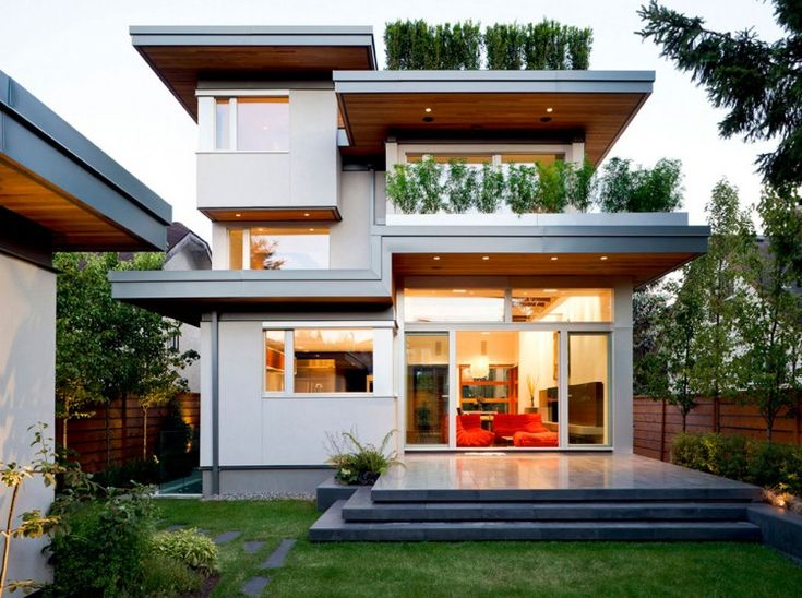 Small Green Home Design With Roof Garden And Plants In Balcony Green Architecture Houses Design And