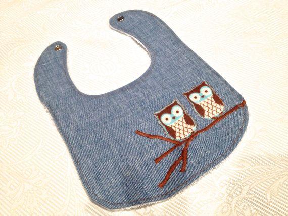 Denim Owl Boy Baby Bib by PamStomel on Etsy, $8.00