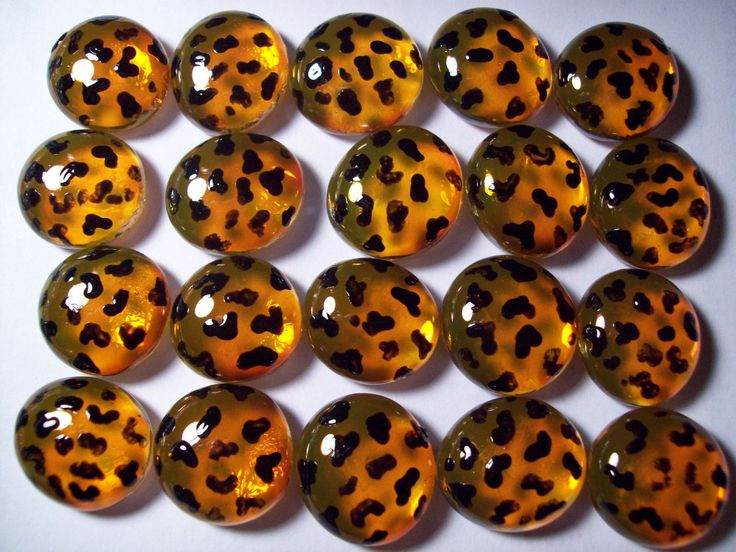 cheetah print party supplies | Handpainted glass gems party favors decorations leopard print