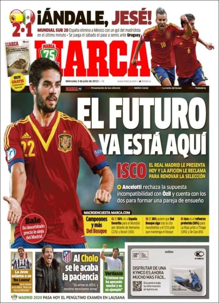 Los Titulares y Portadas de Noticias Destacadas Españolas del 3 de Julio de 2013 del Diario Deportivo Marca ¿Que le parecio esta Portada de este Diario Español?