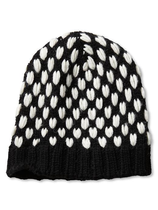 Banana Republic bobble stitch cap in black and white