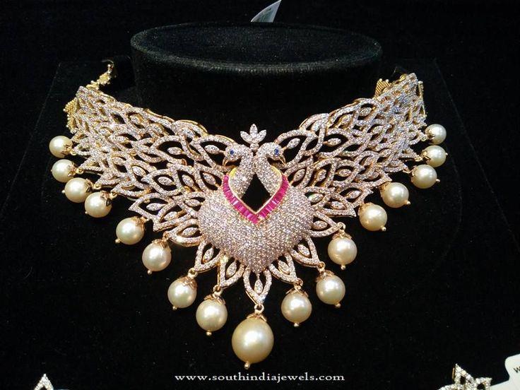Designer Diamond Necklace Models, Designer Peacock Diamond Necklace, Latest Model Designer Diamond Necklace Sets 2016