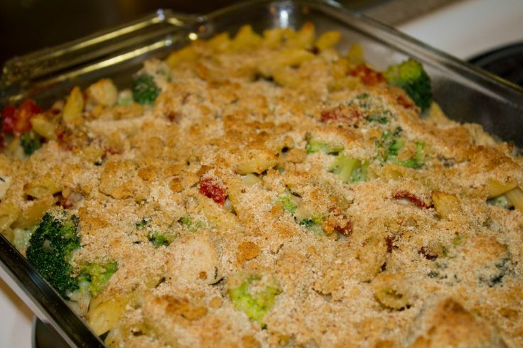 Baked Penne with chicken, broccoli, mozzarella and sun dried tomatoes