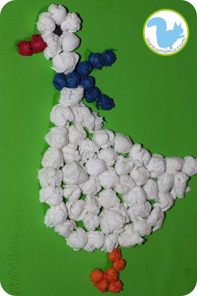 selyempapírból libát2 Lúd papírgalacsinokból (letölthető mintával)