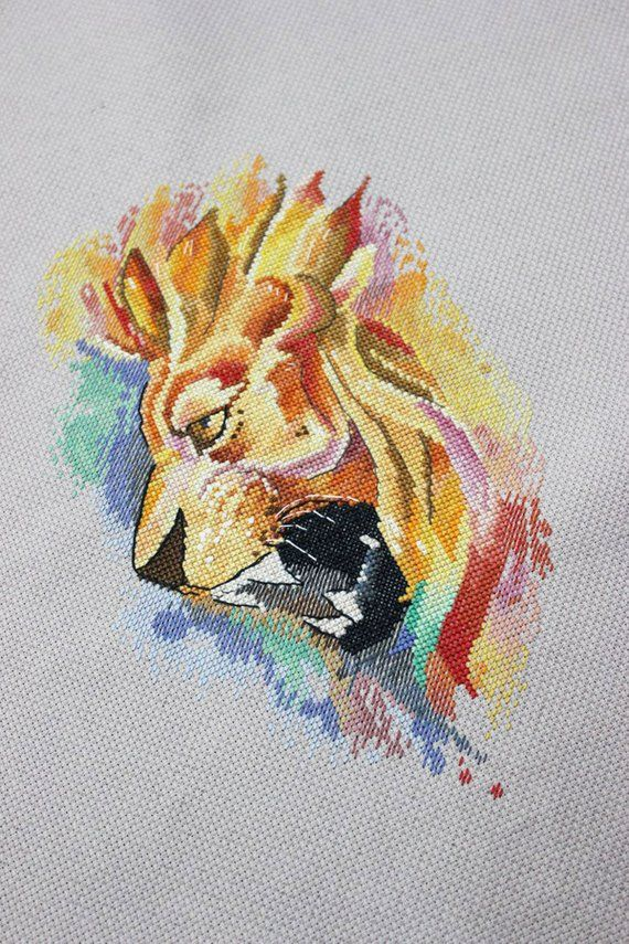 Lioness Color Symbols Charts DIY Counted Cross Stitch Patterns