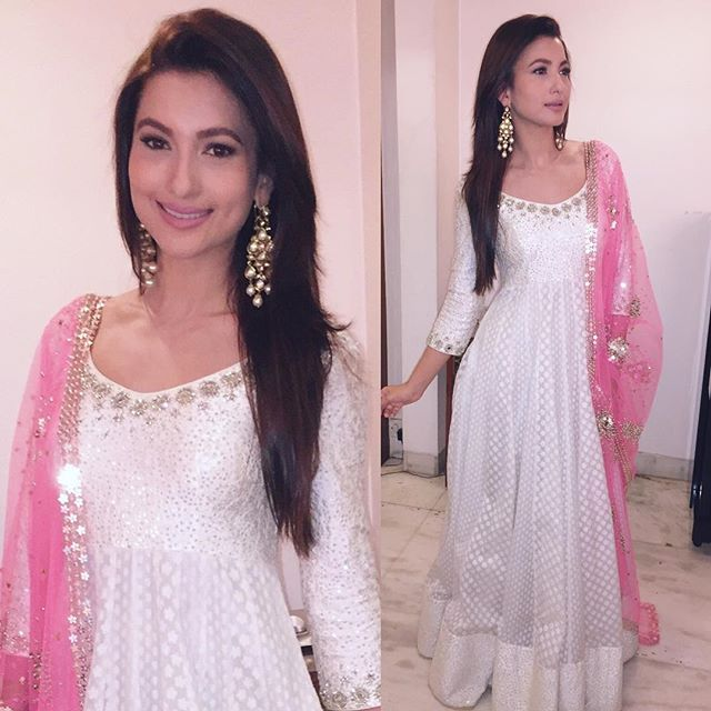 Gauhar Khan in a Pink and White coloured Abhinav Mishra Outfit Picture: Instagram