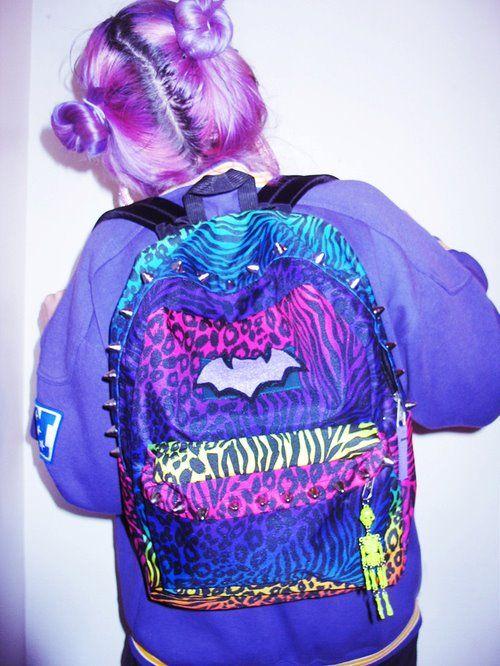 kawaii grunge spike batman backpack