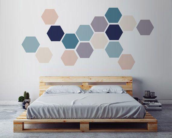 Géométrique Wall ART, Sticker mural amovible. Tissu autocollant auto-adhésif, bricolage décoration d'intérieur, Design d'intérieur scandinave.