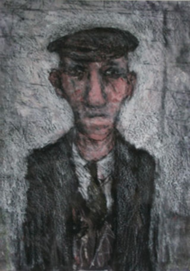Uncle Tom mixed media painting by Arthur Berry. Available as at Sept 2013.