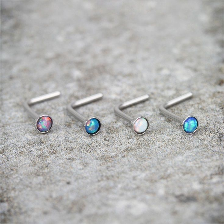 "Our brand new opal surgical steel ""L"" shape Nose Stud Rings from Hollywood Body Jewelry Piercing Jewelry"