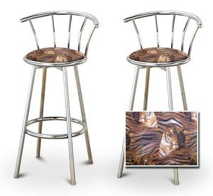 2 Tiger Face Animal Print Specialty / Custom Chrome Barstools with Backrest Set
