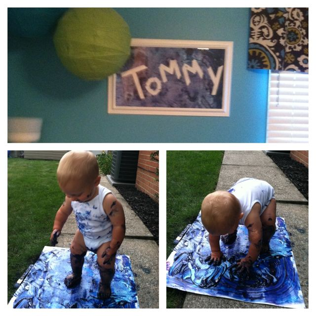 Toddler Craft - tape your child's name on a poster board. Give them some finger paint. Get messy! Dry, remove tape, cut  frame.