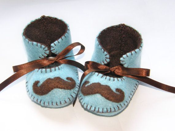Moustache Mustache Baby Boy Booties Boy Soft Shoes by funkyshapes, $27.95.  (Adorable, don't you think?)